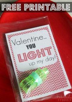 You light up my day Valentine! Cool finger lights are a great alternative to candy for kids Valentine cards!