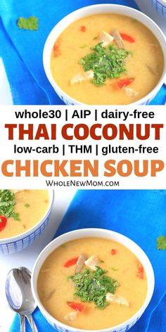 Low-Carb Thai Coconut Chicken Soup This Low Carb Thai Chicken Soup is a great one-pot meal to warm you inside out this winter! It's paleo, gluten-free, and dairy-free too! Dairy Free Low Carb, Dairy Free Soup, Dairy Free Recipes, Gluten Free, Thm Recipes, Paleo Chicken Soup, Thai Chicken, Paleo Soup, Healthy Chicken