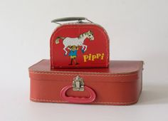 Two children's suitcases cardboard case red by MiepundMeise