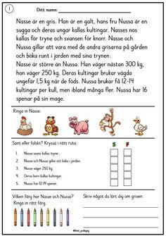 Reading Comprehension For Kids, Swedish Language, Free Teaching Resources, 1 An, Preschool, Teacher, Writing, Education, Saga