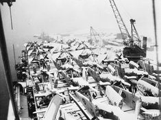 HMS Ruler's flight deck is crowded with snow-covered Grumman Avengers and Fairey Fireflys. The caption with this posting on the Imperial War Museum's Collection site says little, but it does give the date as 21 January 1945. In late January, according to Naval-History.net, Ruler had embarked the Fireflys of 1772 Squadron at Royal Navy Aircraft Replenishment Yard Belfast and then was making ready on the Clyde to sail for Sydney to join the Pacific Fleet as a replenishment carrier.
