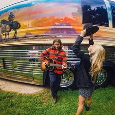 "A tip of the hat to Lily Meola and Lucas Nelson for sharing this musical moment and @willienelsonofficial's Luck, Texas ranch with us!  The friends sang ""Sound of Your Memory"" by the bus before the #LuckReunion festivities outside of Austin.  by: @katiek808 #GoProMusic #GoPro"
