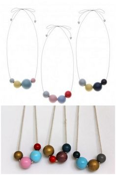 DIY Painted Wooden Bead Necklace.
