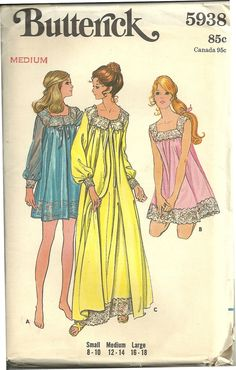 First thing i will attempt with my new sewing machine! Vintage Lingerie Pattern /Vintage Nightgown/ Peignoir Pattern. $12.00, via Etsy.