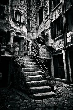 """Now, this dilapidated stairway, looks like what the insides of Count Dracula's castle (in the movies) should look like... """"I bid you welcome!""""."""