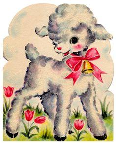 vintage easter card - cute little lamb - Wendy Schultz - Printables. Clip Art Vintage, Vintage Artwork, Vintage Images, Vintage Valentines, Vintage Holiday, Retro Christmas, Vintage Greeting Cards, Vintage Postcards, Easter Images Clip Art