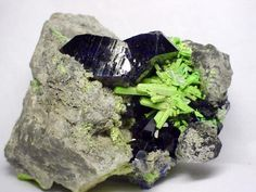 Azurite with Bayldonite ps. after Mimetite