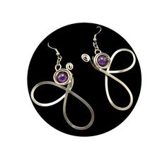 Wire Wrap Butterfly Earrings with Amethyst stone  by HyppieChic, $23.00