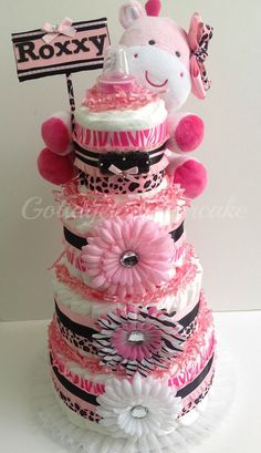 Pink safari diaper cake, cheetah prints, safari theme,pink and black diapercake, centerpiece, baby shower, girls diaper cakes, nappy cakes, $70