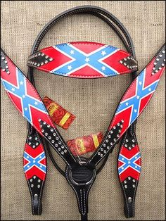 BHPA589-HILASON WESTERN LEATHER HORSE BRIDLE HEADSTALL BREAST COLLAR CONFEDERATE FLAG