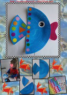 paper plate fish craft for kids Paper Plate Art, Paper Plate Fish, Paper Plate Crafts For Kids, Summer Crafts For Kids, Paper Plates, Paper Crafting, Art For Kids, Diy Paper, Fish Plate
