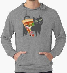 Cat loves pizza by plushism @redbubble
