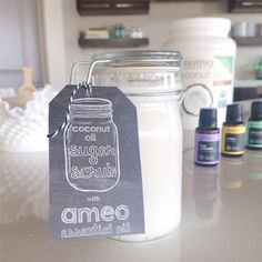 We LOVE this Améo Coconut Oil Sugar Scrub recipe that Heather B. posted! 1 part coconut oil 2 parts sugar Several drops of your favorite Améo oil. For this particular scrub she used Améo Peppermint for an invigorating skin scrub