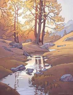 Fantasy Landscape, Landscape Art, Fantasy Art, Landscape Drawings, Art Drawings, Landscapes, Potnia Theron, Arte 8 Bits, Background Drawing