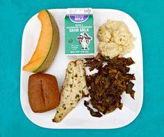 Lemon Baked Tilapia, Whole Wheat Roll, Collard Greens, Cauliflower Gratin, Fresh Cantaloupe Wedge & Milk