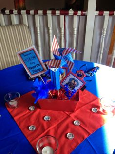 Graduation Party Centerpieces, favorite things, pinwheel, toilet paper rolls,