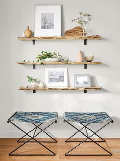 Stowe Modern Wall Shelf - Tavi Stools with Stowe Wall Shelves - Modern Entryway Furniture - Room & Board Home Decor Items, Home Decor Accessories, Diy Home Decor, Modern Entryway, Modern Wall Decor, Modern Art, My Living Room, Living Room Decor, Dining Room