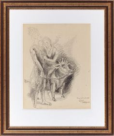 "PER KROHG AASGAARDSTRAND 1889 - OSLO 1965  ""Peer Gynt and the green-clad"" in 1955  Pencil on paper, 39x31 cm  Signed and dated lower right: Per Krohg 1955 Oslo, Moose Art, Pencil, Paper, Green, Animals, Animales, Animaux, Animal"
