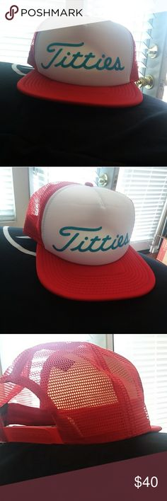 Titties snapback Never worn. Red, white and blue reflective writing.. Breast cancer fundraiser Accessories Hats