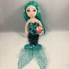 From the Ty Sea Sequins collection. Pinturas Disney, Ty Beanie Boos, Spongebob, Stuffed Animals, Mermaids, Aqua, Plush, Sequins, Dolls