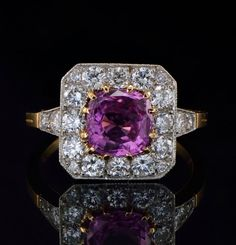 Spectacular no heat natural pink sapphire and diamond rare Art Deco French ring. £4,200.00, via Etsy.