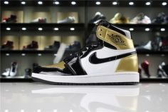 best service d5fcd 9861a Cheap Priced Mens and Womens Air Jordan 1 Retro High OG NRG Gold Toe Black  White-Metallic Gold For Sale - ishoesdesign