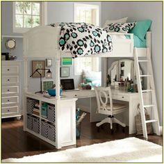 Bedroom, Pretty White Girls Loft Bed Idea With U Shaped Desk Bookshelf And Ladder ~ Girls Loft Bed with Desk: Design Ideas and Benefits