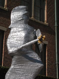 Tommy Trojan all wrapped prior to USC vs UCLA game