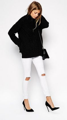 Black sweater with white distressed jeans