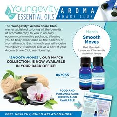 "March 2016 ""Smooth Moves"" collection: Lavender, Chamomile, Red Mandarin, and an additional sample. Save $18.30 this month over buying them individually. https://cropwithme.buyygy.com/90forLifeStore/en/aromatherapy-essential-oils"