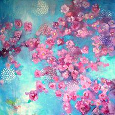 """Large Abstract Cherry Blossom Floral Painting on Canvas Loose Gestrual Brushstrokes, Original """"Breath of Spring"""" 36x36"""