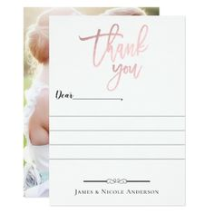 Rose Gold Modern Script Minimal Photo Thank You Card - invitations custom unique diy personalize occasions