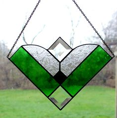 Stained Glass Window Hanging in Greens. Starting at  on Tophatter.com!