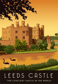 Leeds Castle poster with the famous Black Swans, Maidstone, Kent, England, UK