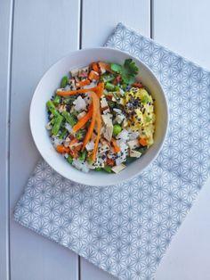 Riz façon Cantonais au tofu fumé et petits légumes cuits /crus  ( Vegan, sans gluten ) par kiwi-forme