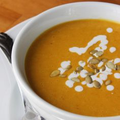I-Can't-Believe-It's-Not-Dairy Pumpkin Bisque - All the creaminess without a drop of dairy, this flavorful pumpkin-coconut bisque is only 202 per serving.