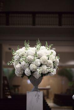 White Alter Arrangement Featuring White Hydrangea and Snap Dragons by Blue Bouquet, www.bluebouquet.com