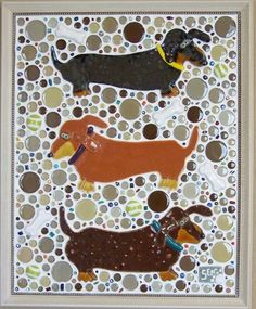 Mosaic Dachshund Dog Wall Art Tail Chasers by animalinstincts by tracy sam