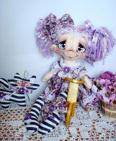 """Купить Текстильная кукла """"Мой Усатый Полосатый..."""". Интерьерная кукла. - сиреневый, интерьерная кукла"""