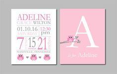 "Owl Nursery Decor, Birth Stats Wall Art, Pink and Grey Nursery, New Baby Girl Gift, Baby Birthdate Print, Owl Nursery Wall Art two 8""x10s"