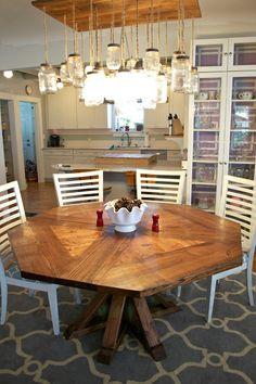 DIY Octagon Dining Room Table...with a farmhouse base. (Seats 8 ...