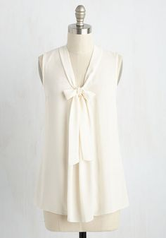 South Florida Spree Top in Vanilla - White, Solid, Work, Sleeveless, Woven, Good, Variation, V Neck, Mid-length