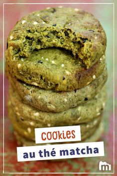 Cookies au thé vert matcha et chocolat blanc - Christal Koppe Matcha Cookies, Biscotti Cookies, Pie Co, Kinds Of Cookies, Cookies Et Biscuits, Brunch, Goodies, Food And Drink, Sweets