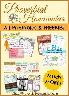 Love this BIG list of FREE printables for faith, family discipleship, homemaking, homeschooling, and more! - All Printables and Freebies at Proverbial Homemaker