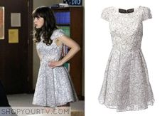 Jess Day (Zooey Deschanel) wears this black and white floral lace dress in this week's episode of New Girl.