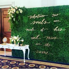 "Vivian Khanh on Instagram: ""Whatever our souls are made of his and mine are the same. Quote chosen by the bride herself @xosusiecakes. Floral design @flowerallie 
