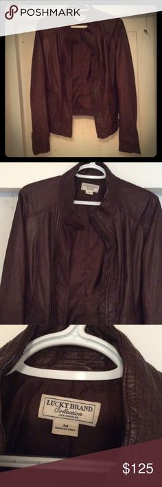 LUCKY Brand Authentic Leather Jacket! M, Brown Beautiful and soft leather jacket originally $400!! Features beautiful detailing, zippers in the sleeves, pockets etc. never worn. Lucky Brand Jackets & Coats