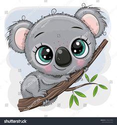 Cartoon Koala is sitting on a tree. Cute Cartoon Koala is sitting on a tree vector illustration Kawaii Drawings, Cartoon Drawings, Cartoon Art, Cute Drawings, Cartoon Memes, Cartoon Characters, Cartoons, Environmental Crafts, Animal Illustrations