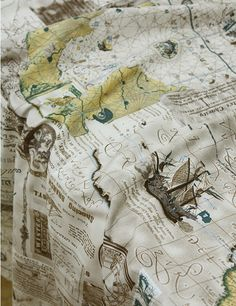 Cotton Fabric Vintage Voyage Navigation Map 1 Yard in by landofoh, $13.90