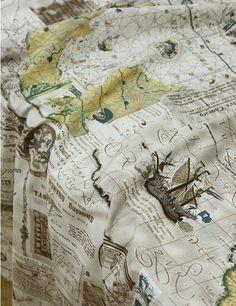 Cotton Fabric Vintage Voyage Navigation Map 1 Yard in by landofoh, $13.90
